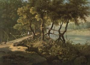 'Cane suspension bridge over the Témshang River, in the Khássia Hills' (Hermann de Schlagintweit, 1855).